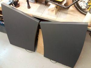 curved desktop pieces painted matt grey